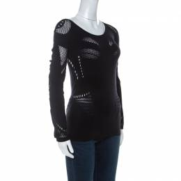 MCQ by Alexander McQueen Black Stretch Perforated Knit Bodycon Top L 233810