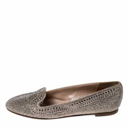 Valentino Beige Suede Studded Belgian Ballet Flats Size 39 233715