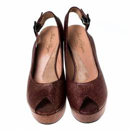 Gianvitto Rossi Golden Brown Lame Peep Toe Platform Wedge Sandals Size 38.5 Gianvito Rossi 233710