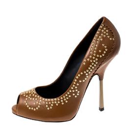 Giuseppe Zanotti Design Tan Studded Leather Peep Toe Pumps Size 38 233386