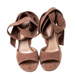 Gianvito Rossi Beige Suede Ankle Tie Sandals Size 37 233019