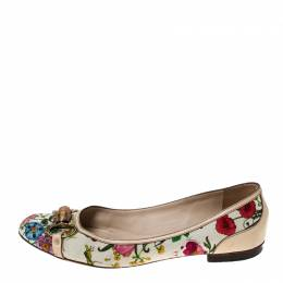 Gucci Multicolor Floral Print Leather and Canvas Bamboo Horsebit Ballet Flats Size 41 233707