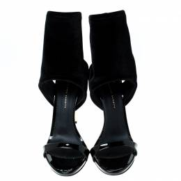 Giuseppe Zanotti Design Black Velvet High Heels Sandals Size 39.5 228525