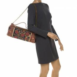 Tory Burch Multicolor Floral Embroidered Canvas and Leather Frame Top Handle Bag 230371