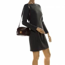 Bottega Veneta Dark Brown Intrecciato Leather Turnlock Flap Crossbody Bag 226778