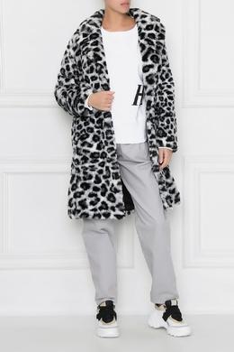 Шуба с черно-белым животным принтом Alberta Ferretti 1771157680