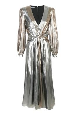Серебристое макси-платье из смешанного шелка Alberta Ferretti 1771157750