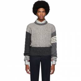 Thom Browne Grey Aran Cable Knit Crewneck Sweater MKA233F-00278