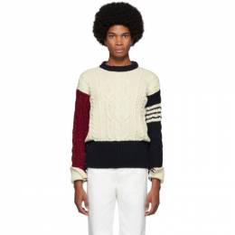 Thom Browne White Aran Cable Knit Crewneck Sweater MKA233F-00278