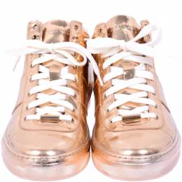 Jimmy Choo Gold Leather High-Top Sneakers Size 40