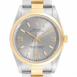 Rolex Silver 18K Yellow Gold And Stainless Steel Oyster Perpetual 14203 Men's Wristwatch 34 MM 233573