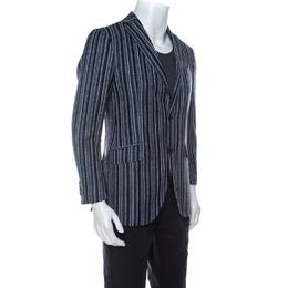 Etro Blue Striped Wool Blend Blazer M 233882
