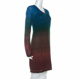 M Missoni Multicolor Ombre Pattern Knit V Neck Dress M 234495