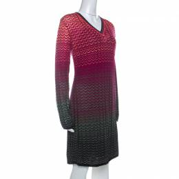M Missoni Multicolor Ombre Pattern Knit V Neck Dress M 234497