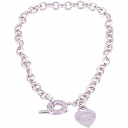 Tiffany & Co. Heart Tag Charm Silver Chain Toggle Necklace 234869