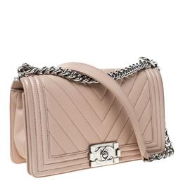 Chanel Beige Chevron Quilted Leather Medium Boy Flap Bag 229537