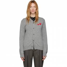 Comme Des Garcons Play Grey Wool Mens Double Heart V-Neck Cardigan N072