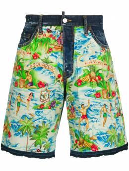 Dsquared2 джинсовые шорты с гавайским принтом S71MU0479S30342