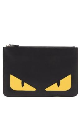 Кожаный клатч прямоугольной формы Fendi 1632157828