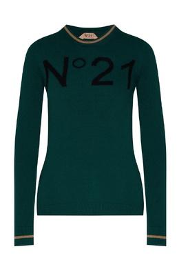 Зеленый джемпер с интарсией-логотипом No. 21 35157730