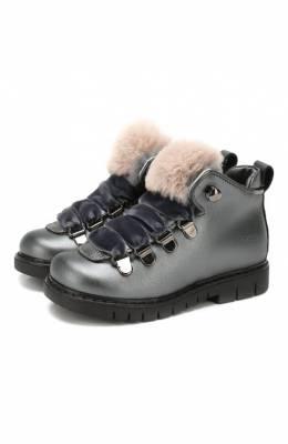 Кожаные ботинки с меховой отделкой Simonetta SITR0014/S0FTY/23-27