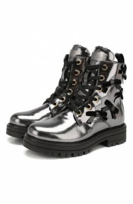 Кожаные ботинки с меховой отделкой Simonetta SITR0006/MIRR0R/28-34