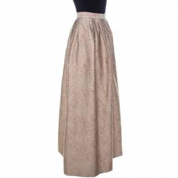Max Mara Cream Lurex Floral Pattern Jacquard Long Skirt L 234429
