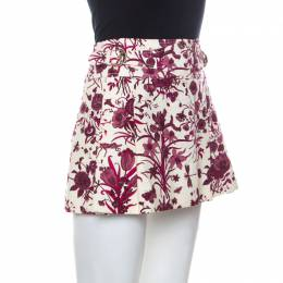 Gucci Beige and Purple Floral Print Cotton Pleated Mini Skirt M 234559