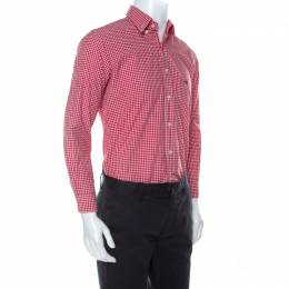 Etro Red and White Gingham Check Cotton Button Down Shirt M