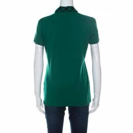 Burberry Brit Green Honeycomb Knit Novacheck Collar Detail Polo T-Shirt M 233793