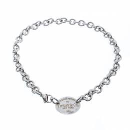 Tiffany & Co. Return to Tiffany Oval Tag Silver Choker Necklace 233780