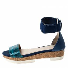Jimmy Choo Blue Watersnake Neat Ankle Strap Cork Wedge Platform Sandals Size 38.5