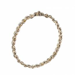 Chanel CC Turnlock Metallic Leather Woven Gold Tone Chain Bangle Bracelet 233436
