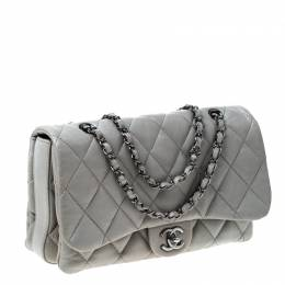 Chanel Grey Quilted Leather Medium Classic Flap 3 Shoulder Bag 232559