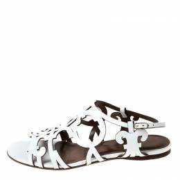 Hermes White Leather Karlotta Cut Out Flat Sandals Size 36.5 234811