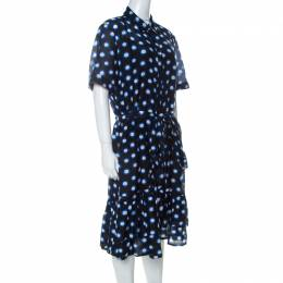 Boutique Moschino Black and Blue Polka Dot Cotton Ruffle Trim Belted Dress L 232169