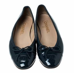 Chanel Green Patent Leather Bow CC Cap Toe Ballet Flats Size 37 234800