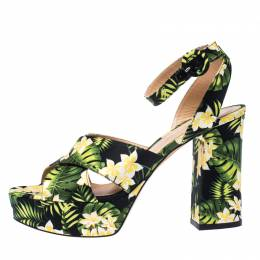 Gianvito Rossi Multicolor Floral Satin Platform Ankle Strap Sandals Size 39 234479