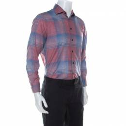 Etro Multicolor Madras Check Cotton Long Sleeve Shirt L
