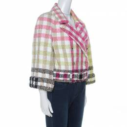 Chanel Multicolor Checked Tweed Cropped Belted Jacket L 234711