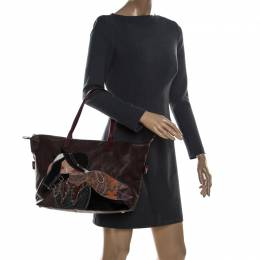 Etro Multicolor Paisley Printed Coated Canvas and Leather Embroidered Tote 230938
