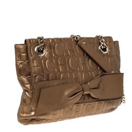 Carolina Herrera Bronze Monogram Leather Audrey Shoulder Bag 230299