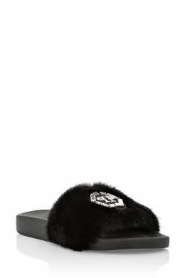 Меховые шлепанцы черного цвета Philipp Plein 1795138336