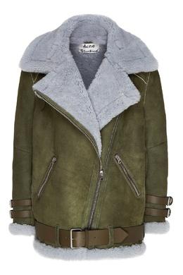 Зеленая куртка-дубленка с меховой отделкой Acne Studios 876158647