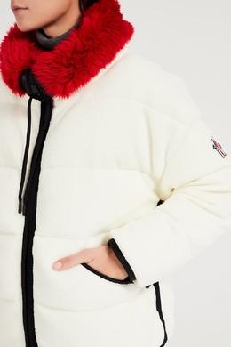 Белая куртка с красным воротником Moncler 34158650