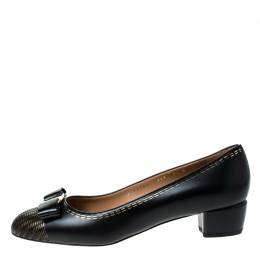Salvatore Ferragamo Black Leather Vara Bow Pumps Size 40