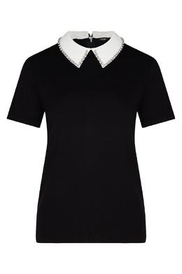 Черная футболка с контрастным воротником Maje 888157959