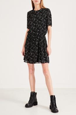 Свободное черное платье с узором Saint Laurent 1531158533