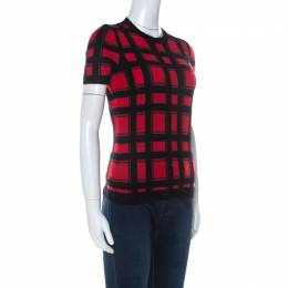 Dsquared2 Red Plaid Angora Wool Short Sleeve Top M 235966