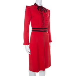 Gucci Red Viscose Jersey Ruffle Trim Neck Bow Detail Dress L 233406